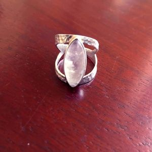 Boho Ring - Moon Stone & Hammered Sterling Silver